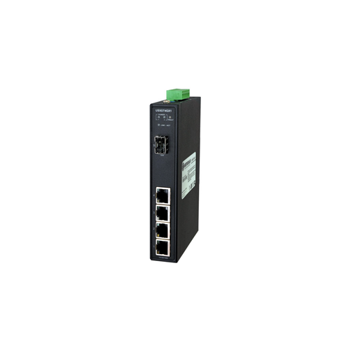 Hardened Unmanaged Ethernet Switch, 10/100/1000 Ethernet Transceiver with 4 x 10/100/1000Base-TX and 1 x 1000Base-X SFP ports